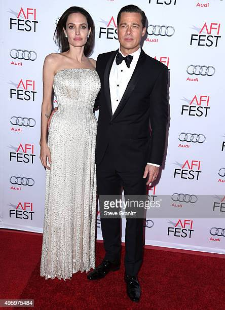 Angelina Jolie Pitt and Brad Pitt arrives at the AFI FEST 2015 Presented By Audi Opening Night Gala Premiere Of Universal Pictures' 'By The Sea' at...