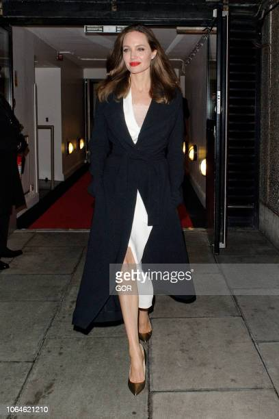 Angelina Jolie seen leaving the BFI on the Southbank on November 23 2018 in London England