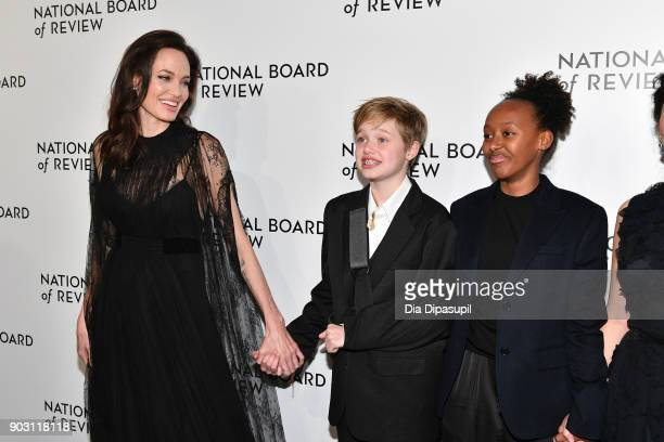 Angelina Jolie Shiloh JoliePitt and Zahara JoliePitt attend the 2018 National Board of Review Awards Gala at Cipriani 42nd Street on January 9 2018...