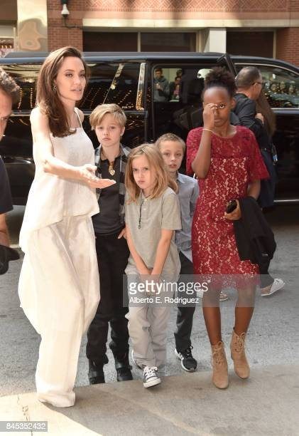 Angelina Jolie Shiloh JoliePitt Vivienne JoliePitt Knox Leon JoliePitt and Zahara JoliePitt attend 'The Breadwinner' premiere during the 2017 Toronto...