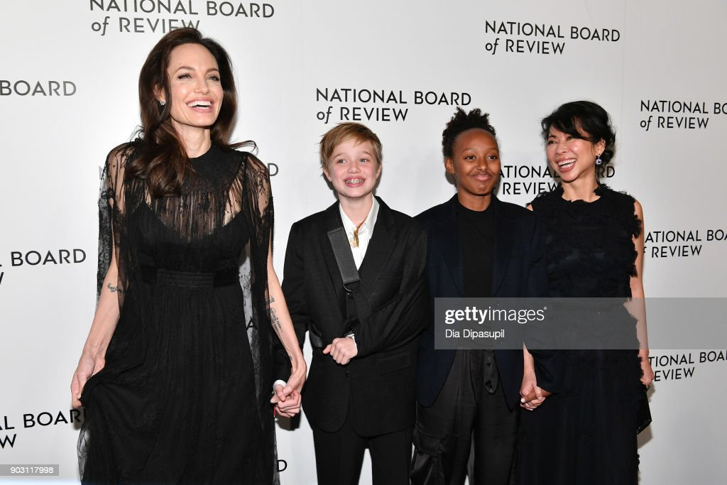 Angelina Jolie, Shiloh Jolie-Pitt, Zahara Jolie-Pitt, and Loung Ung attend the 2018 National Board of Review Awards Gala at Cipriani 42nd Street on January 9, 2018 in New York City.