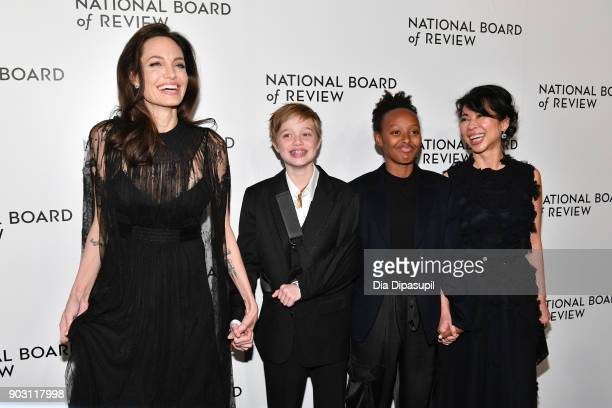 Angelina Jolie Shiloh JoliePitt Zahara JoliePitt and Loung Ung attend the 2018 National Board of Review Awards Gala at Cipriani 42nd Street on...