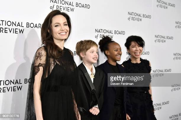 Angelina Jolie Shiloh JoliePitt Zahara JoliePitt and Loung Ung attend the 2018 The National Board Of Review Annual Awards Gala at Cipriani 42nd...