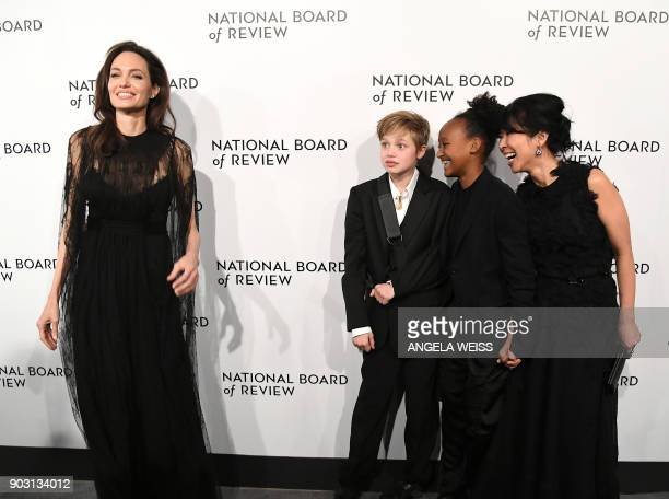 TOPSHOT Angelina Jolie Shiloh JoliePitt Zahara JoliePitt and Loung Ung attend the 2018 National Board of Review Awards Gala at Cipriani 42nd Street...