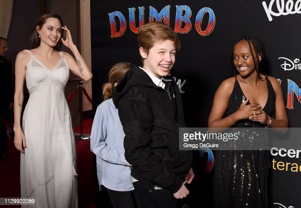 Angelina Jolie Shiloh Nouvel JoliePitt and Zahara Marley JoliePitt attend the premiere of Disney's Dumbo at El Capitan Theatre on March 11 2019 in...