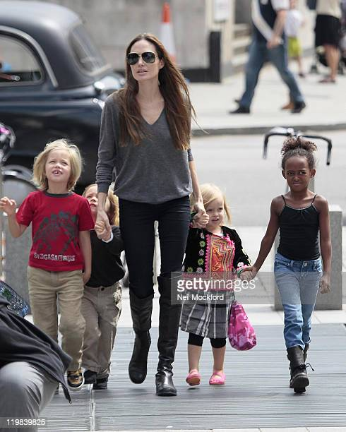 Angelina Jolie sighted arriving at The London Aquarium with her children Shiloh Knox Vivienne and Zahara on July 25 2011 in London England