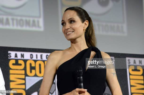 Angelina Jolie speaks at the Marvel Studios Panel during 2019 Comic-Con International at San Diego Convention Center on July 20, 2019 in San Diego,...