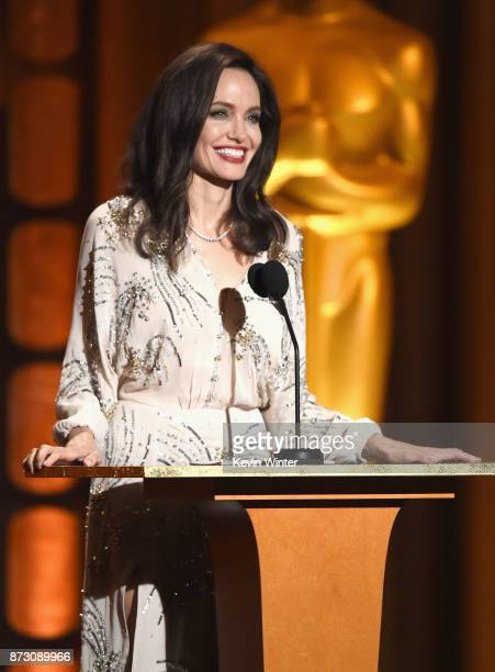 Angelina Jolie speaks onstage at the Academy of Motion Picture Arts and Sciences' 9th Annual Governors Awards at The Ray Dolby Ballroom at Hollywood...