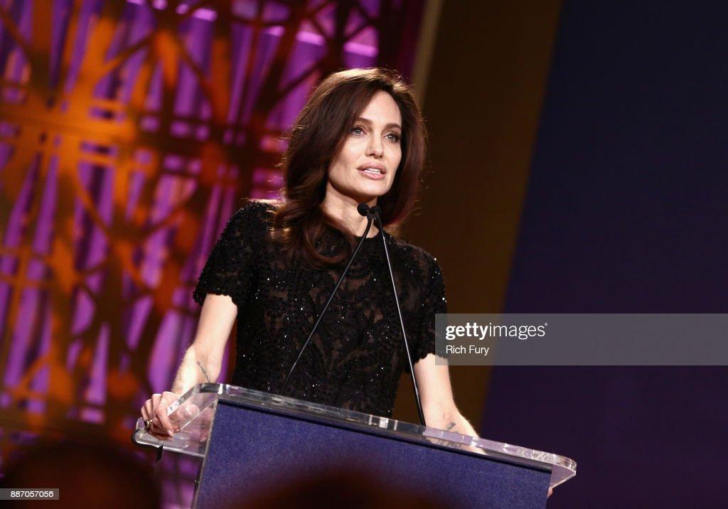 Angelina Jolie speaks onstage at The Hollywood Reporter's 2017 Women In Entertainment Breakfast at Milk Studios on December 6, 2017 in Los Angeles, California.