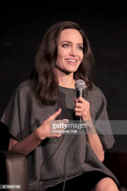 Angelina Jolie speaks onstage during 'On Collaborative Storytelling Angelina Jolie And Loung Ung' at AFI FEST 2017 Presented By Audi at the Egyptian...