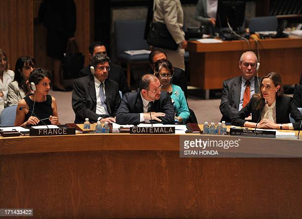 Angelina Jolie Special Envoy United Nations High Commissioner for Refugees speaks as Fernando Carrera Guatemala's Ambassador to the UN and Najat...