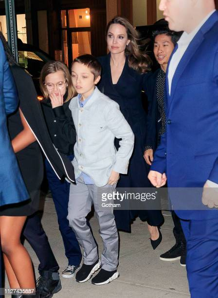 Angelina Jolie takes her kids Maddox JoliePitt Vivienne JoliePitt Knox JoliePitt Zahara JoliePitt and Shiloh JoliePitt to a special screening of 'The...