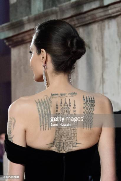 Angelina Jolie tattoo detail attends the EE British Academy Film Awards held at Royal Albert Hall on February 18 2018 in London England