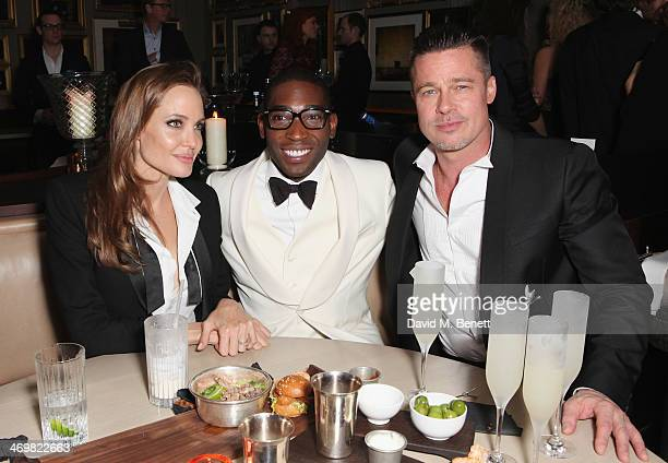 Angelina Jolie Tinie Tempah and Brad Pitt attend Entertainment One's BAFTA after party hosted by Grey Goose at The London Edition Hotel on February...