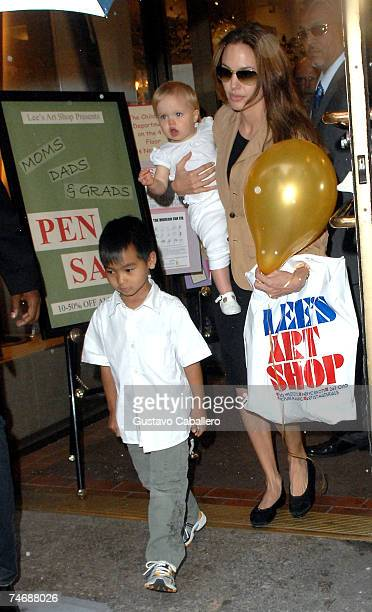 Angelina Jolie walks with daughter Shiloh and son Maddox on June 16 2007 in New York City
