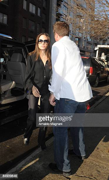 Angelina Jolie with a new Bodyguard arriving at a Studio to work on her new film Salt on February 19 2009 in New York