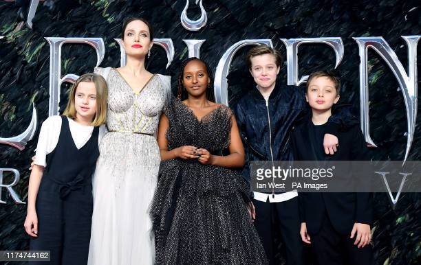 Angelina Jolie with children Vivienne Marcheline JoliePitt Zahara Marley JoliePitt Shiloh Nouvel JoliePitt and Knox Leon JoliePitt attending the...