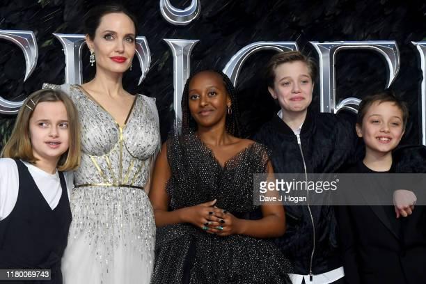 Angelina Jolie with children Vivienne Marcheline JoliePitt Zahara Marley JoliePitt Shiloh Nouvel JoliePitt and Knox Leon JoliePitt attend the...