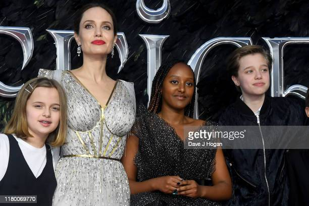 Angelina Jolie with children Vivienne Marcheline JoliePitt Zahara Marley JoliePitt and Shiloh Nouvel JoliePitt attend the European premiere of...