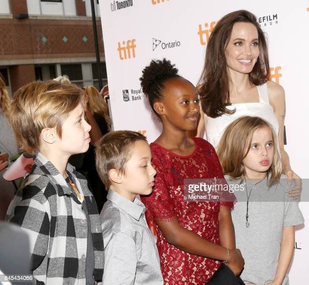 Angelina Jolie with her children arrive to the 'The Breadwinner' premiere 2017 TIFF Premieres Photo Calls and Press Conferences held on September 10...