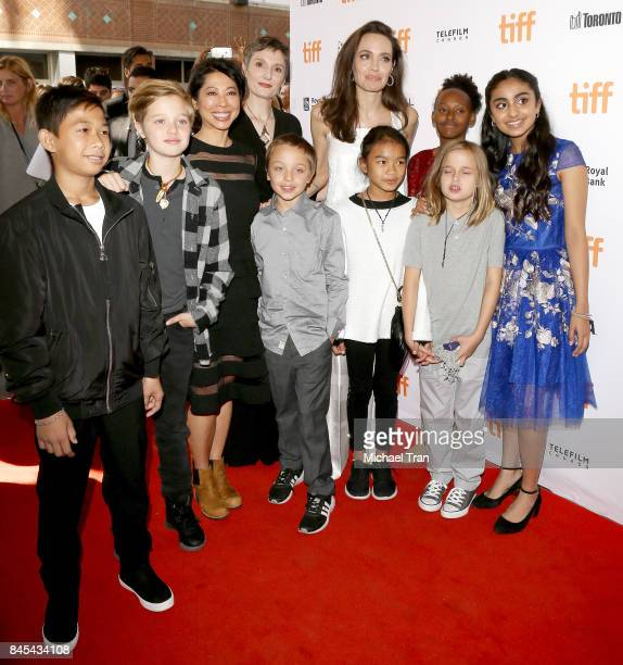 Angelina Jolie with her children arrive to the The Breadwinner premiere 2017 TIFF Premieres Photo Calls and Press Conferences held on September 10...