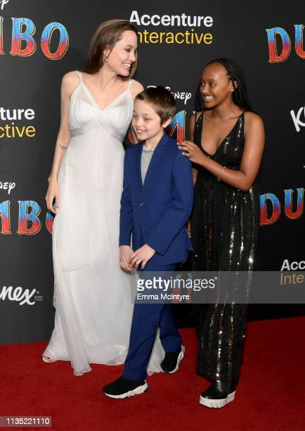 Angelina Jolie with her children Knox JoliePitt and Zahara Marley JoliePitt attend the premiere of Disney's Dumbo at El Capitan Theatre on March 11...