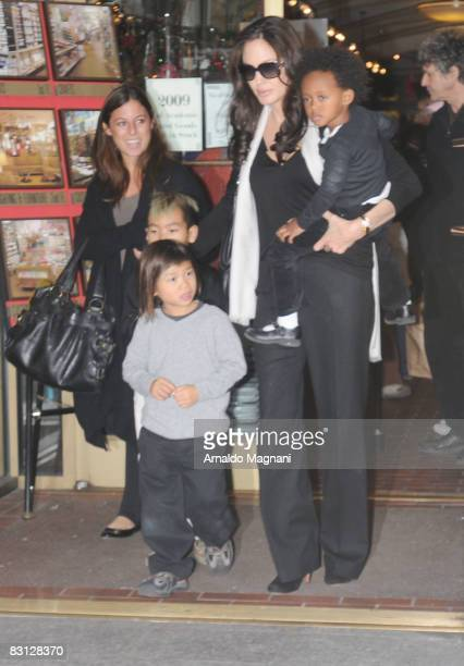 Angelina Jolie with her children Maddox, Pax and Zahara on the streets of Manhattan on October 4, 2008 in New York City.
