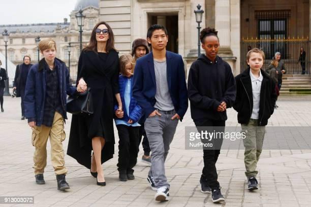 Angelina Jolie with her children Shiloh Pitt Jolie Maddox Pitt Jolie Vivienne Marcheline Pitt Jolie Pax Thien Pitt Jolie Zahara Marley Pitt Jolie...