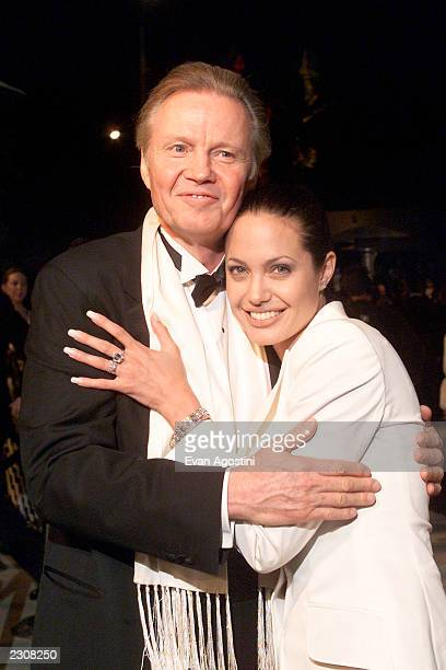 Angelina Jolie with her father Jon Voight at the Vanity Fair Oscar party at Morton's in Beverly Hills Los Angeles CA Photo Evan Agostini / ImageDirect