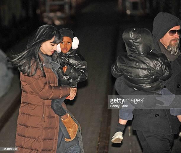 Angelina Jolie Zahara JoliePitt Shiloh JoliePitt and Brad Pitt are seen on location for Salt in Manhattan on December 29 2009 in New York City