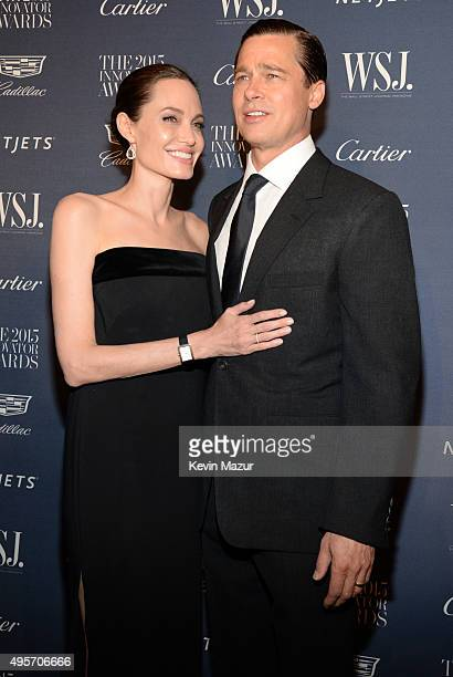 Angelina JoliePItt and Brad Pitt attend the WSJ Magazine 2015 Innovator Awards at the Museum of Modern Art on November 4 2015 in New York City