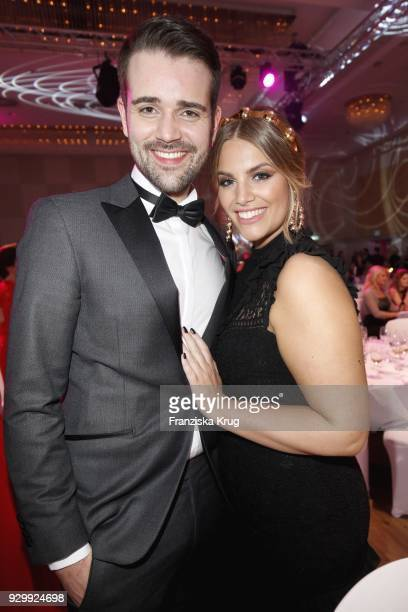 Angelina Kirsch and her boyfriend Mario Dornbach during the Gloria Deutscher Kosmetikpreis at Hilton Hotel on March 9 2018 in Duesseldorf Germany