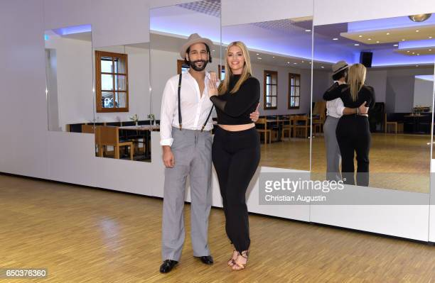 Angelina Kirsch and Massimo Sinato pose at a photo call for the tenth season of the television competition 'Let's Dance' on March 9 2017 in...