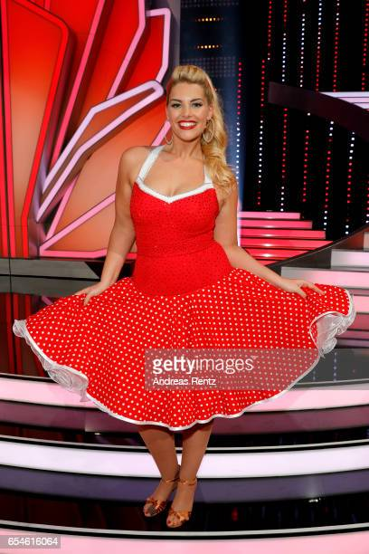 Angelina Kirsch pose after the 1st show of the tenth season of the television competition 'Let's Dance' on March 17 2017 in Cologne Germany
