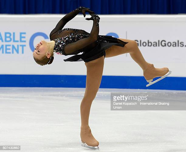 Angelina Kuchvalska of Latvia performs during the Ladies Free Skating during day three of the ISU European Figure Skating Championships 2016 on...