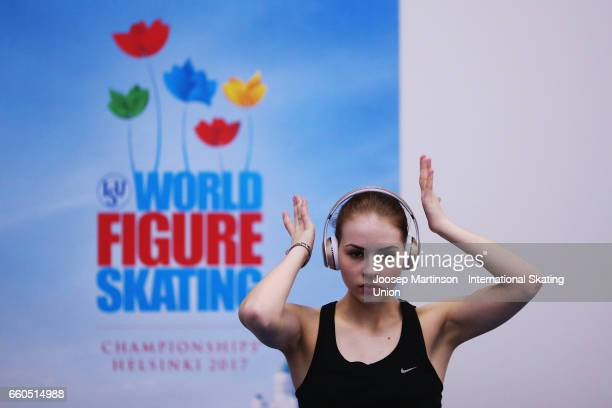 Angelina Kuchvalska of Latvia warms up during day two of the World Figure Skating Championships at Hartwall Arena on March 30 2017 in Helsinki Finland
