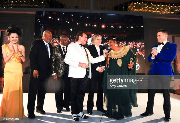 Angelina Leo, Sam Watson, Floyd Mayweather Sr., Steven Nia, Roger Christian, Dr. Khalilah Ali and Kaya Redford attend the Wardour Studios And...