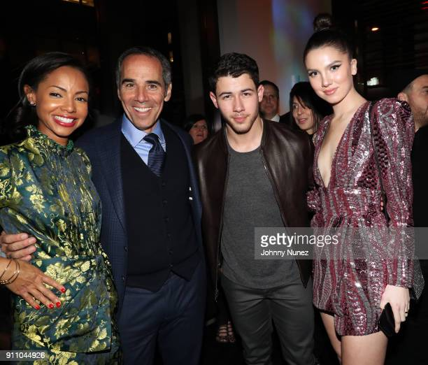 Angelina Davis Republic Records Chairman/ CEO/ CoFounder Monte Lipman Nick Jonas and Maya Henry attend the Republic Records PreGrammy Party at...