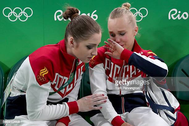 Angelina Melnikova and Aliya Mustafina of Russia talk after Women's qualification for Artistic Gymnastics on Day 2 of the Rio 2016 Olympic Games at...