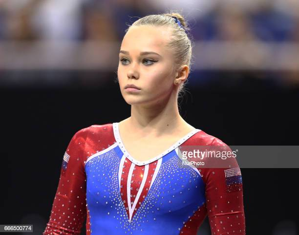 Angelina Melnikova during the IPRO Sport World Cup of Gymnastics at The O2 Arena London England on 08 April 2017