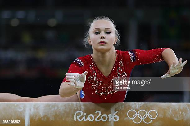 Angelina Melnikova of Russia competes during a balance beam event of women's team final of Artistic Gymnasitcs at the 2016 Rio Olympic Games in Rio...