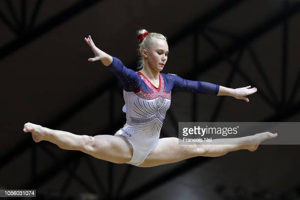 Angelina Melnikova of Russia competes in Balance Beam during Women's AllAround Final during Day Eight of 2018 FIG Artistic Gymnastics Championships...