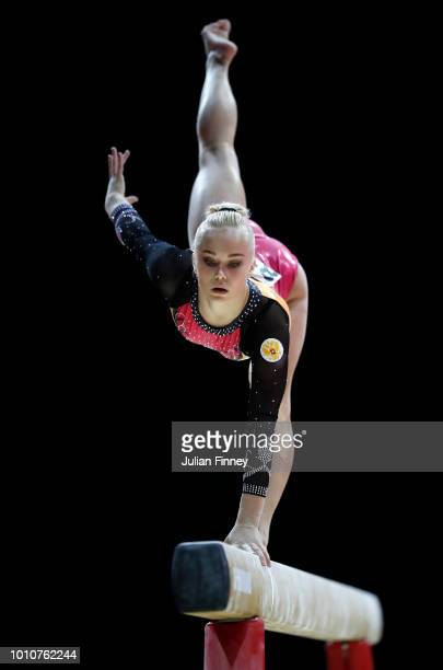 Angelina Melnikova of Russia competes in the Balance Beam discipline during the Women's Gymnastics Team Final on Day three of the European...