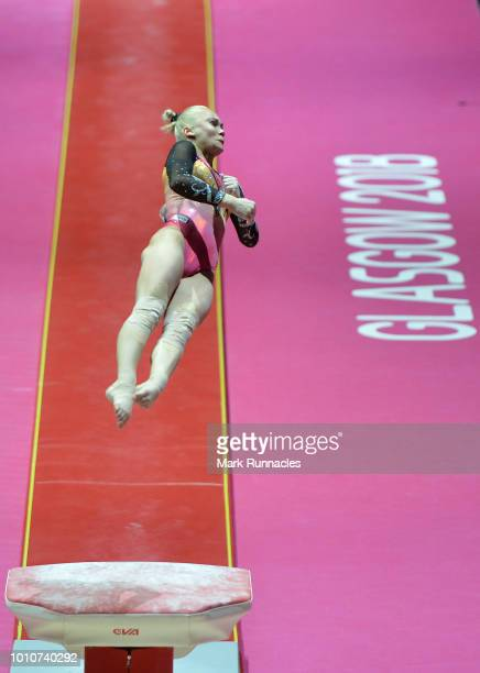 Angelina Melnikova of Russia competes in the vault discipline of the Women's Gymnastics Team Final during Day three of the European Championships...