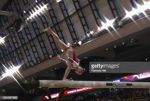 Angelina Melnikova of Russia competes in the Women's Balance Beam Qualification during day four of the 2018 FIG Artistic Gymnastics Championships at...