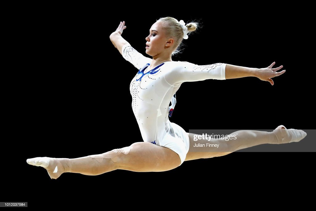 Angelina Melnikova of Russia competes in the Women's Individual Floor Final during the gymnastics on Day Four of the European Championships Glasgow 2018 at The SSE Hydro on August 5, 2018 in Glasgow, Scotland.