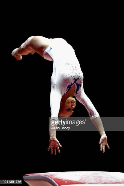 Angelina Melnikova of Russia competes in the Women's Individual Vault Final during the gymnastics on Day Four of the European Championships Glasgow...