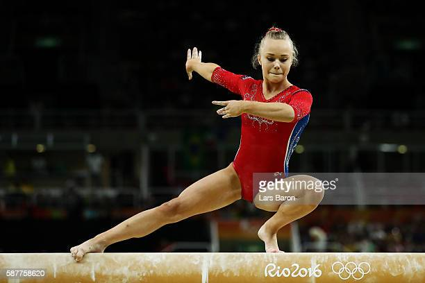 Angelina Melnikova of Russia competes on the balance beam during the Artistic Gymnastics Women's Team Final on Day 4 of the Rio 2016 Olympic Games at...