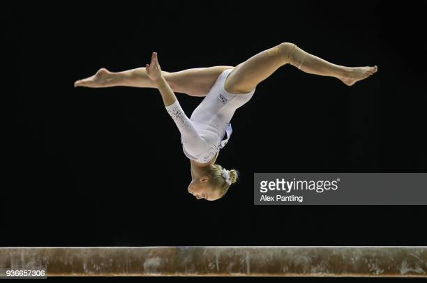 Angelina Melnikova of Russia competes on the beam during day two of the 2018 Gymnastics World Cup at Arena Birmingham on March 22 2018 in Birmingham...