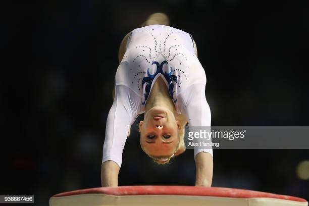 Angelina Melnikova of Russia competes on the vault during day two of the 2018 Gymnastics World Cup at Arena Birmingham on March 22 2018 in Birmingham...